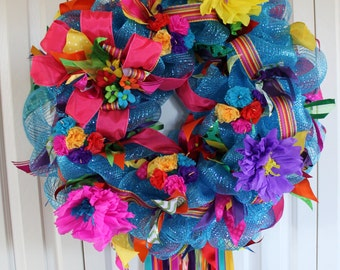 Large Fiesta deco mesh wreath. San Antonio Fiesta Decor. Fiesta paper flower bright colored wreath. FIESTA.  Fiesta Decor.  Fiesta wreath