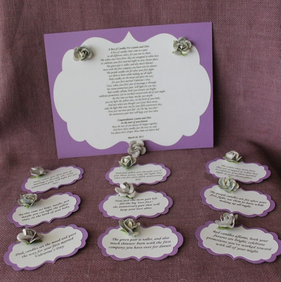 Wedding Gift Of Candles Poem : Wedding Shower Candle Poem Purple Tag Set. Bridal candle