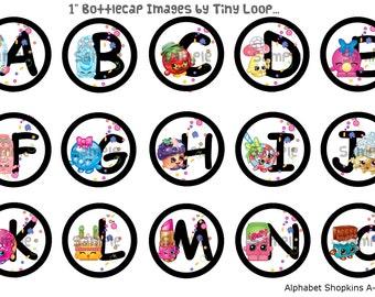 """30 Shopkins Alphabet Bottlecap Images 1"""" Circle 4x6 Instant Download"""