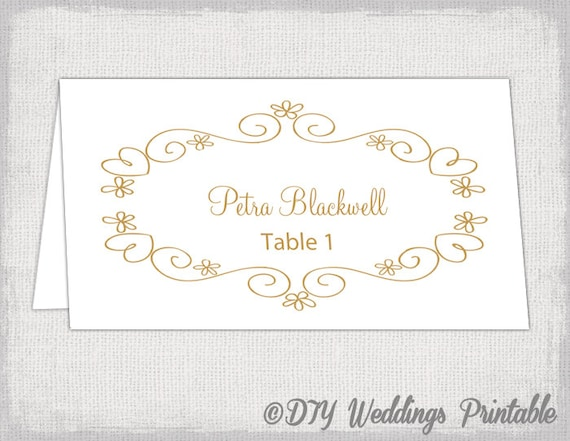 printable wedding place cards template diy gold placecards you edit - Printable Wedding Place Cards