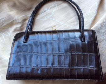 Vintage 50s 60s  dark brown mock croc handbag.