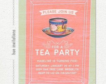 tea party 5th birthday invitation, girls tea party invite, little girls fifth birthday, shabby rustic invitation, 5x7 jpg pdf 590