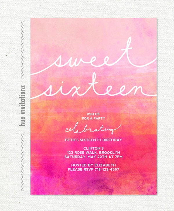 ombre watercolor sweet 16 birthday invitation pink magenta