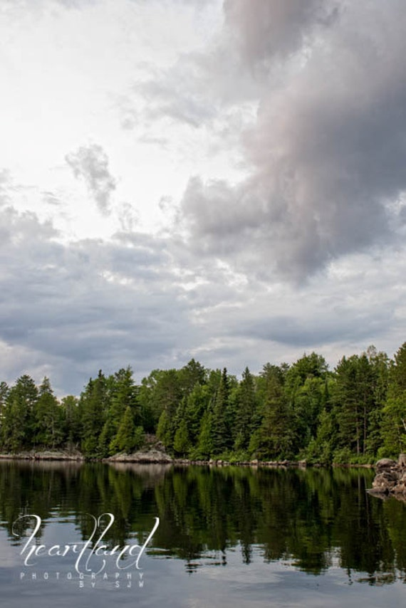 Boundary Waters, Reflection Photography, Lake Photo Print, Cloud Photography, Minnesota Art, Green and Gray, Midwest Photography