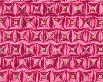 100% Cotton Fat Quarter Makower Walkabout Squares in Raspberry