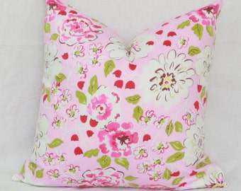 """Pink & green floral decorative throw pillow cover.18"""" x 18"""" pillow cover."""