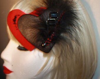 Heart Fascinator with Feathers.