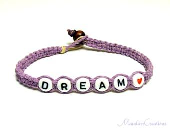 Dream Bracelet, Lavender Purple Macrame Hemp Jewelry, Gifts for Her