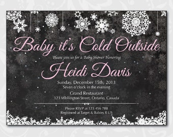 Baby Its Cold Outside Baby Shower Invitation. Winter Baby Shower. Blue Pink Yellow. Baby boy baby girl chalkboard invite. Printable Digital
