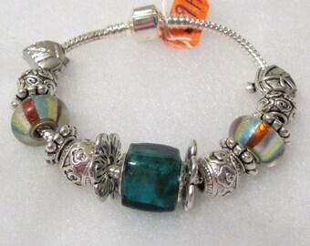 469 - Dark Teal & Stripe Bracelet