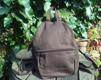 Brown canvas small backpack