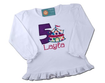 Circus Birthday Shirt in Bright Dots, Number and Embroidered Name