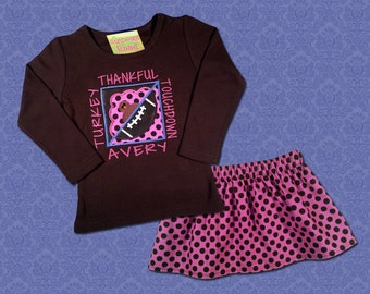 Girl's Thanksgiving Outfit with Football T-Box and Matching Dot Skirt