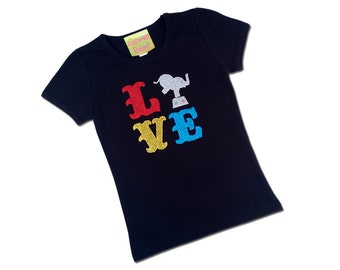 Girl's Circus Shirt with Glitter LOVE, Elephant and Embroidered Name
