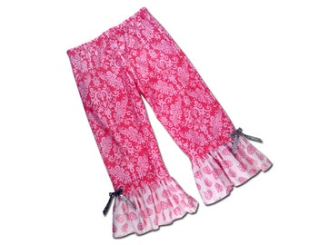 Girl's Ruffle Bottom Pants - Pink Shimmer Damask and Shimmer Crowns - F48,F49