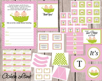 INSTANT DOWNLOAD Printable Two Peas In A Pod Theme Baby Shower Party Package. Twins Baby Shower Party Package. Twin Girls Shower.