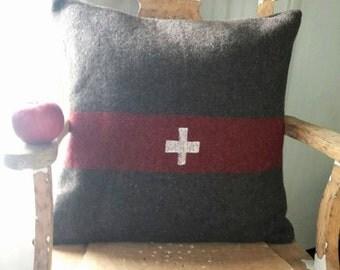 Swiss Cross Pillow Cover, Handmade Decorative Pillow Case, Fits 20 x 20