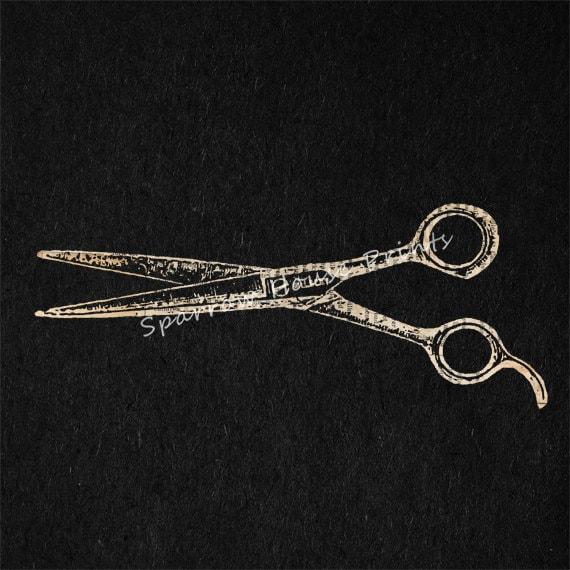 Vintage Print Hair Cutting Shears Barber Salon Scissors