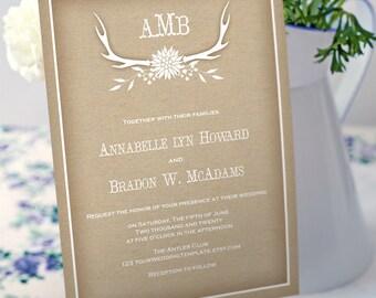 Rustic antler wedding invitation template-diy printable kraft wedding invitation- download instantly-antler-T082