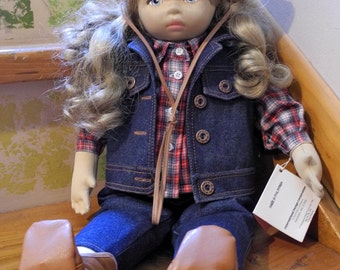 Vintage 1985 Cowgirl Doll by Pauline Bjonness-Jacobsen - Soft Body - Removable Clothing