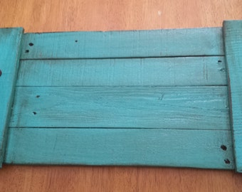 Turquoise Painted Wood Pallet Serving Tray
