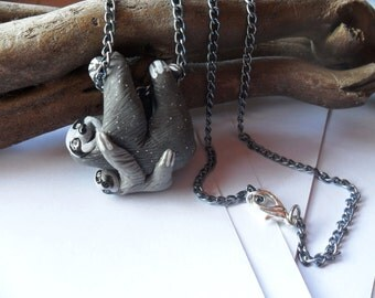 Momma and Baby Sloth Necklace - Animal Pendant Necklace - Ploymer Clay Jewelry - Polymer Clay Necklace