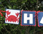 Under the Sea Animals (Crab - Nautical) -  Red, Navy, and White