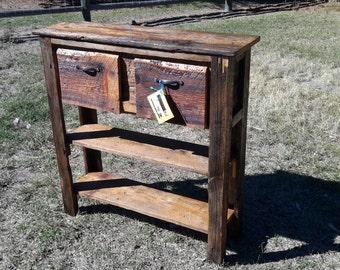 Reclaimed wood / barn wood sofa table,  entryway table