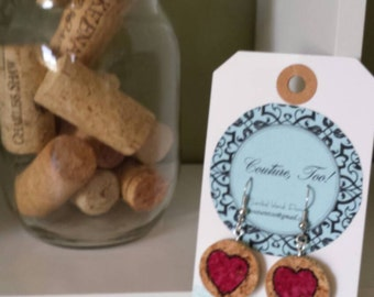Happy Valentines Day! Cork Heart Earrings!