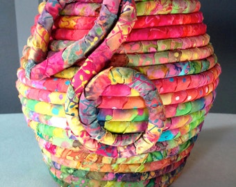 Tall Batik Fabric Coiled Basket