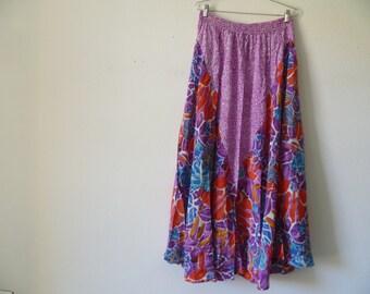 Vintage 1980s Long Flower Skirt, New Old Stock