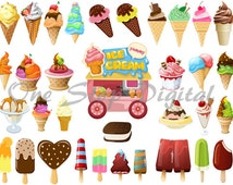 Instant Download Digital Ice Cream Clip Art Popsicle Clip Art Ice Cream Cart Clipart Sundae Ice Cream Cone Popsicle Food Drink 0147