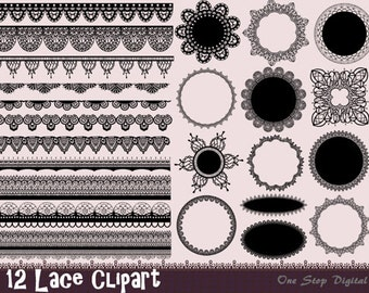 Instant Download Black Digital Lace Doily Clipart Black Lace Frame Lace Border Black Digital Lace Border Frame Scrapbook Lace Clip Art 0272
