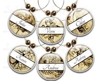 Vintage Floral Wine Charm, Personalized Wine Charms, Wine Gift, Wine Glass Jewelry, Custom Wine Charm, Floral Wine Charms, Wine Accessories