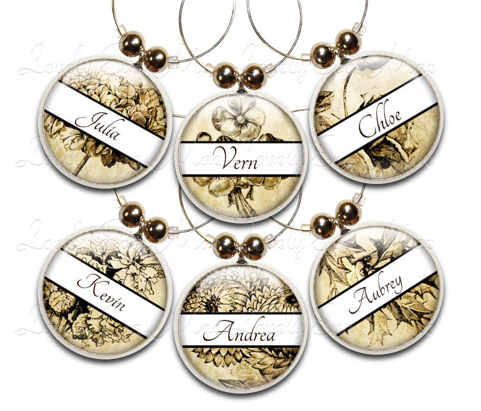 vintage floral wine charm personalized wine charms wine