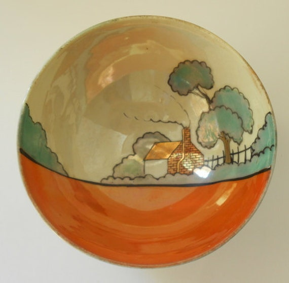 Lusterware Candy Dish Made In Japan Three Legs Hand Painted Farmhouse Scene