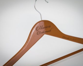Bridesmaid Gift, 7 Personalized Wedding Hanger, Engraved Bridesmaid Hanger, Wedding Dress Hanger