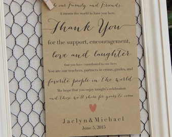 Rustic Wedding Thank You Note- Ceremony or Reception. Family and Friends.- Riley Collection