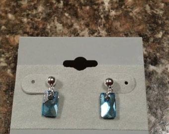 Aquamarine Pendular Lochrose Swarovski crystal post earrings