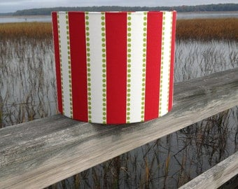 Drum Lamp Shade Red Stripes and Green Dots Lampshade