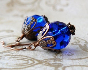 Cobalt Blue Glass Earrings, Dark Blue Faceted Bead Drops, Antique Copper Filigree, Vintage Style Earrings, Victorian Inspired Jewelry