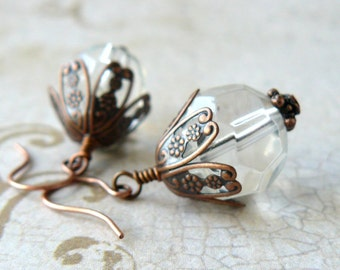 Clear Glass Earrings, Large Clear Faceted Bead Dangles, Antique Copper Filigree, Vintage Inspired Earrings, Victorian Style Jewelry