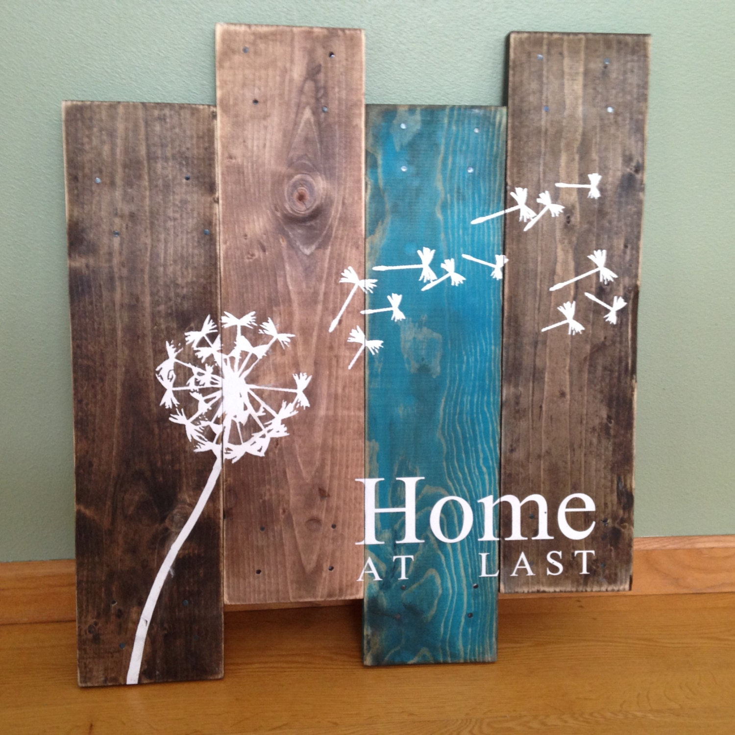 Dandelion wall hanging home at last rustic wall decor teal for Wood bathroom wall decor