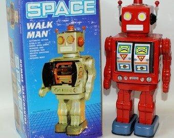 Vintage 1990's Tin Lithographed Battery Operated Red Walk Man Space Robot in Box