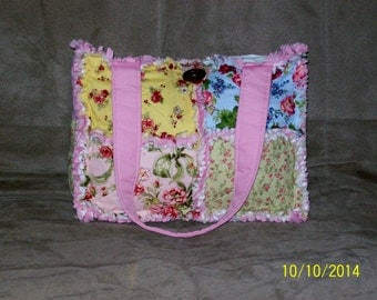 Shabby Rose Pastel Flower Pink Blue Yellow Sage Rag Quilt Diaper Bag Tote Purse