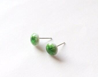 Green Crackled Glaze Earrings - Ceramic earrings - Post earrings - Stud earrings - Crackled glaze ceramics - Green earrings - Porcelain