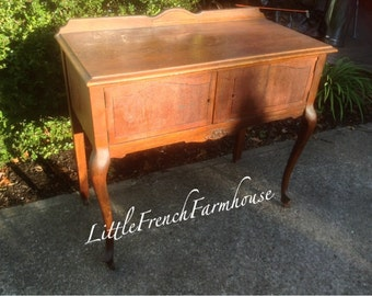 GORGEOUS Vintage French SERVER Paint to Order Buffet Sideboard Liquor Cabinet, Rolling Bar, Cabriole French Provincial Regency - Sink Vanity