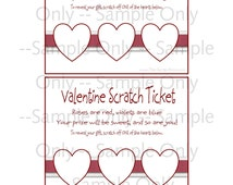 """DIY Scratch Ticket Valentine Printables with Easy Tutorial for """"Scratch Off"""" Layer -- Printable Valentines"""