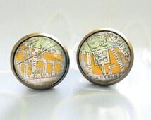 EUROPA Streets of PARIS Earrings map city vintage