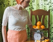 Handmade wedding half apron with cap Bridal apron Linen apron Flirty wedding apron Orange lace apron Wedding accessories